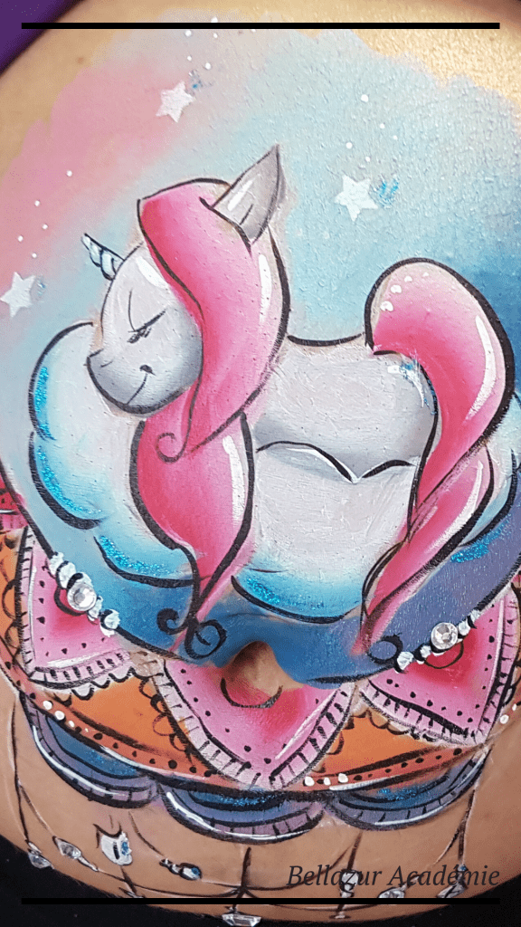 belly painting licorne